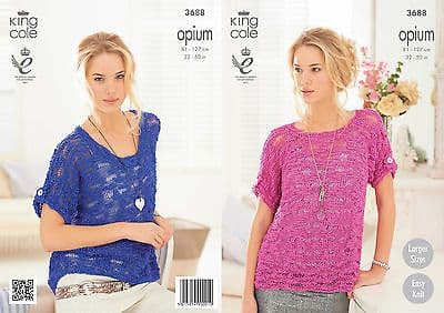 """3688 - KING COLE OPIUM CHUNKY TOP KNITTING PATTERN - TO FIT CHEST 32"""" TO 50"""""""