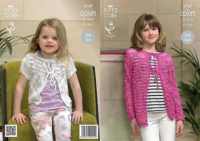 3747 - KING COLE OPIUM CHUNKY GIRLS CARDIGAN KNITTING PATTERN - TO FIT AGE 2 TO 11 YEARS