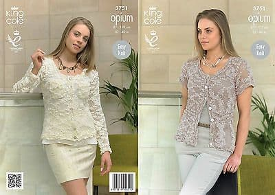"""3751 - KING COLE OPIUM CHUNKY CARDIGAN KNITTING PATTERN - TO FIT CHEST 32"""" TO 40"""""""