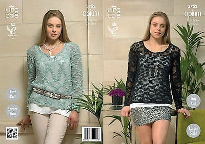 """3752 - KING COLE OPIUM CHUNKY SWEATER KNITTING PATTERN - TO FIT CHEST 32"""" TO 50"""""""