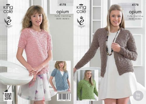 """4178 - KING COLE EASY KNIT OPIUM DK CARDIGAN & SWEATER KNITTING PATTERN - TO FIT CHEST 28"""" TO 46"""""""