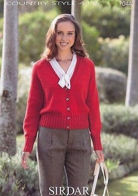 7044 - SIRDAR COUNTRY STYLE 4 PLY CARDIGAN KNITTING PATTERN - TO FIT 32