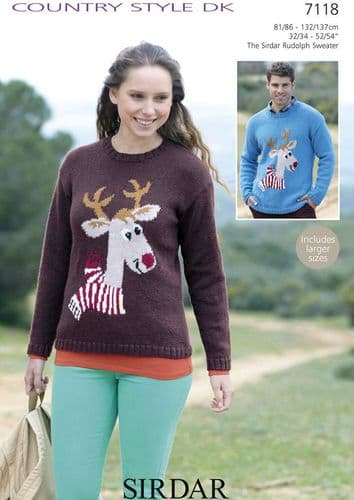 """7118 - SIRDAR COUNTRY STYLE DK RUDOLPH SWEATER KNITTING PATTERN - TO FIT CHEST 32"""" TO 54"""""""