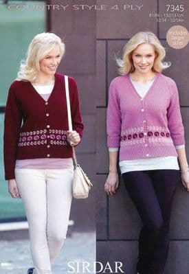 7345 - SIRDAR COUNTRY STYLE 4 PLY CARDIGAN KNITTING PATTERN - TO FIT CHEST SIZE 32