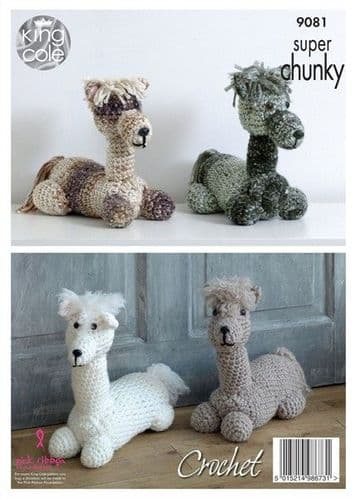 9081 - KING COLE SUPER CHUNKY ANDRE THE ALPACA STUFFED TOY/DOORSTOP CROCHET PATTERN