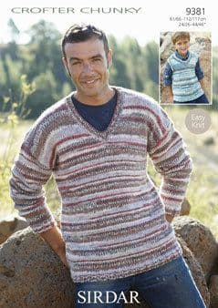 9381 - SIRDAR CROFTER CHUNKY MENS & BOYS SWEATER KNITTING ...