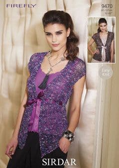 """9470 - SIRDAR FIREFLY TIE-FRONT WAISTCOAT KNITTING PATTERN - TO FIT CHEST 32"""" TO 42"""""""
