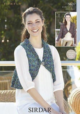 "9607 -  SIRDAR FIREFLY CIRCULAR JACKET & WAISTCOAT Knitting  Pattern - TO FIT 32-54"""