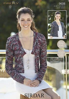 """9608 -  SIRDAR EASY KNIT FIREFLY JACKETS Knitting  Pattern - TO FIT 32-54"""""""