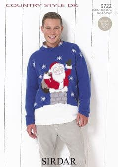 """9722 - SIRDAR COUNTRY STYLE DK SANTA CLAUS SWEATER Knitting Pattern Size 32-54"""""""