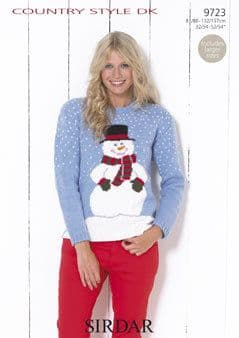 """9723 - SIRDAR COUNTRY STYLE DK SNOWMAN SWEATER KNITTING PATTERN TO FIT CHEST 32"""" TO 54"""""""