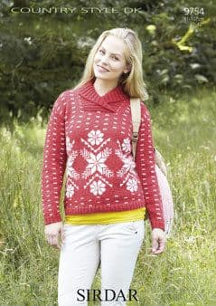 """9754 - SIRDAR COUNTRY STYLE DK SNOWFLAKE SWEATER KNITTING PATTERN - TO FIT CHEST 32"""" TO 42"""""""