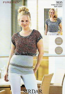 """9835 - SIRDAR FIREFLY CROPPED TOP EASY KNIT KNITTING PATTERN - TO FIT 32"""" TO 54"""""""