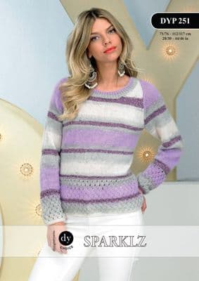 DYP251 - DY CHOICE SPARKLZ DK SWEATER KNITTING PATTERN - TO FIT CHEST 28