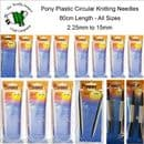 PONY CIRCULAR KNITTING NEEDLES - LENGTH 80cm - SIZES 2.25mm TO 25mm