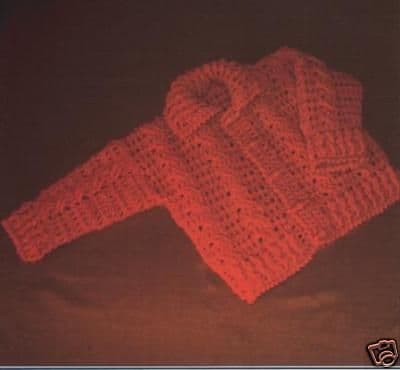 VA056 CABLED JACKET CROCHET PATTERN - 3 TO 12 MONTHS